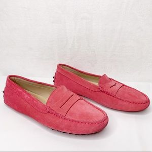 TOD'S Gommino Pink Suede Driving Moccasin Loafers